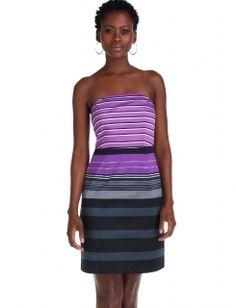 Vivid Stripe Strapless Dress