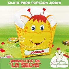 Cajita Popcorn Cebra - Tarjetas Imprimibles