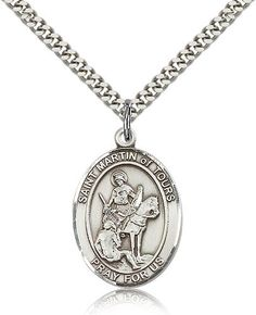 F A Dumont Church Supplies Sterling Silver St. Michael The Archangel Pendant with Stainless Silver Heavy Curb Chain. Patron Saint of Police Officers/EMTs Catholic Jewelry, Catholic Medals, Catholic Gifts, Catholic School, Patron Saints, Chains For Men, Round Pendant, Selling Jewelry, Silver Rounds