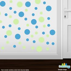 Baby Green / Ice Blue Polka Dot Circles Wall Decals #stickers #decals #decalvenue