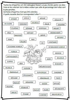 Les émotions - fiche vocabulaire jeuxdecole