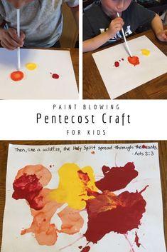 Pentecost paint blowing craft for kids. #biblecrafts #pentecost #sundayschool