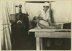 via artofbleeding: Violet wand use as physical therapy in military hospital. ~Otis Historical Archives of the National Museum of Health & Medicine.
