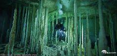 A imagem é uma fotografia real de um dos ambientes mais misteriosos do mundo. Trata-se da Dan's Cave, localizada na ilha...