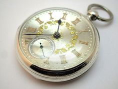c1895 FINE ANTIQUE SOLID SILVER OPEN FACE FUSEE POCKET WATCH, SILVER & GOLD DIAL