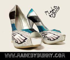 Custom Made to Order - Philadelphia Eagles NFL Rhinestone Glitter Stiletto / Pumps / Heels / Wedges / Closed Toe / Peep Toe / Open Toe. $55.00, via Etsy. Not every girl wants to wear red bottom heels on her wedding day.