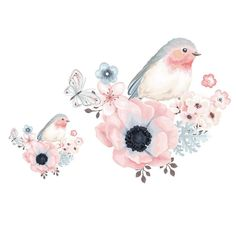 Flower Bird Heat Transfers Iron On Patches For T-shirt DIY Craft Stickers Applications For Clothes Decorative Appliques Flower Background Wallpaper, Flower Backgrounds, Butterfly Watercolor, Watercolor Cards, Bird Drawings, Cute Drawings, Craft Stickers, Flower Bird, Art And Illustration