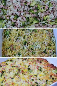 Det er utrolig nemt at lave æggekage i ovn, og resultatet er lækkert. Denne her er fyldt med en skøn kombination af broccoli, skinke og ost.