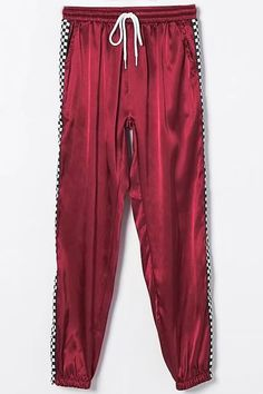 4b2e4a7cf1a0b Women Satin Checkered Print Drawstring Casual Joggers - Dark Red, S