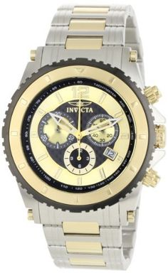 Invicta Men's 1011 II Collection Chronograph 18k Gold-Plated and Silver-Tone Stainless Steel Watch Invicta. $159.99. Precise Swiss-quartz movement. Black and gold dial with gold-tone hands and hour markers; luminous; 18k gold-plated stainless steel unidirectional bezel, crown and pushers. Water-resistant to 330 feet (100 M). Chronograph functions with 60 second, 30 minute and 12 hour gold-tone subdials; date function. Durable flame-fusion crystal; brushed and ...