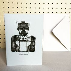 Switch Me On Robot Card in Grey / The Manchester Bee Company