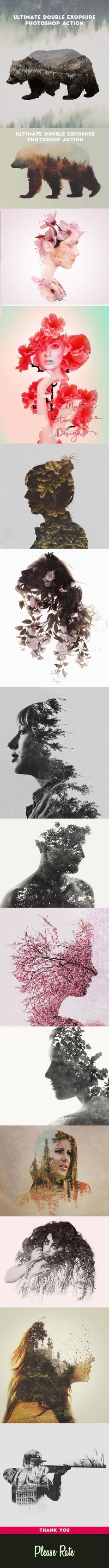 Ultimate Double Exposure Photoshop Action - Photo Effects Actions. Photoshop tips. Cool Photoshop, Photoshop Design, Photoshop Actions, Photoshop Tutorial, Photoshop Express, Photography Projects, Photography Tutorials, Creative Photography, Photoshop Photography