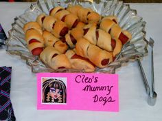 Monster High Party Snacks:  Cleo's Mumy Dogs, hot dogs and cresent rolls.
