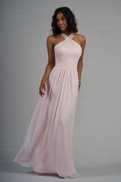 09ee4051dc97 Lace & Poly Chiffon Long Bridesmaid Dress with Criss-Cross Neckline