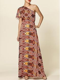 Sabine One Shoulder Printed Maxi Dress | Piperlime  Wore this to a wedding and got so many compliments on it.
