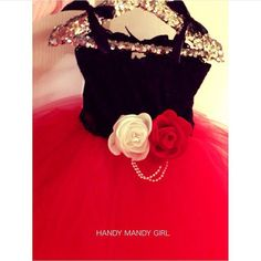 The Sasha dress-Red tutu &black lace top for by HandyMandyGirl