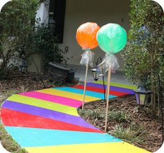 Crunchy Catholic Momma: Birthday Celebrations very clever use of colorful duct tape strips to create the walkway!