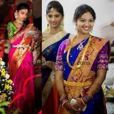 Exclusive Collection of Indian Celebrity Sarees and Designer Blouses Indian Wedding Poses, Indian Bridal Sarees, Indian Bridal Fashion, Indian Weddings, Trendy Sarees, Fancy Sarees, Silk Sarees, Bridal Blouse Designs, Saree Blouse Designs