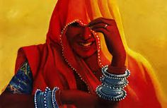 traditional indian paintings of women on canvas - Google Search