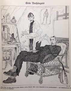 """Ragnvald Blix, Simplicissimus 1912 """"I could've been a great artist, too! Etchings, Great Artists, Cool Drawings, Murals, Illustrators, Cartoons, Sketches, Ink, Cool Stuff"""