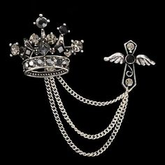 2016 Charms Mens Lapel Crystal Crown Cross Chain Tassel Brooch Suit Badge Brooch Jewelry From Happytraveltime, $5.43 | Dhgate.Com