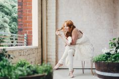 The most beautiful cream tiled balcony and ginger haired woman. Fine Art Women's Portraiture Photography By Novella