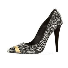 Pumps - $79.99 - Leatherette Stiletto Heel Pumps Closed Toe With Rhinestone shoes (085038281) http://jjshouse.com/Leatherette-Stiletto-Heel-Pumps-Closed-Toe-With-Rhinestone-Shoes-085038281-g38281