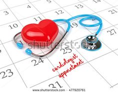 3d rendering of blue stethoscope, calendar and cardiologist appointment note.