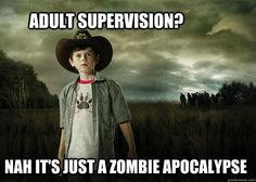 this little punk is starting to grow on me (now that he shot his whore of a mother)...Carl, The Walking Dead.