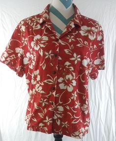 Vtg Hilo Hattie Size XL Red Hawaiian Aloha Camp Shirt Hibiscus Floral #HiloHattie #ButtonDownShirt #Casual
