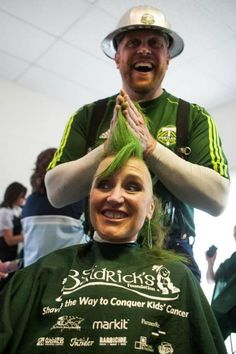 PORTLAND, OR - MAY 19: Portland Timbers players, staff and fans have their heads shaved in support of St. Baldrick's Foundation's fundraising efforts for childhood cancer research at Oaks Park on May 29, 2012 in Portland, Oregon. (L.M. Parr/Portland Timbers)
