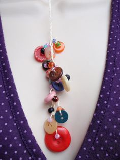 Cream Button Waterfall Necklace by Spasojevich on Etsy, $15.00