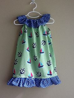 Girls Ruffle Dress in Sailboats and Anchors print by cgdesigns11, $15.00