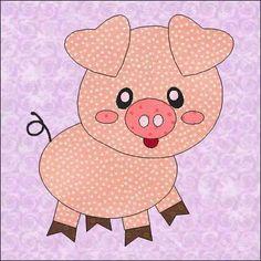 (7) Name: 'Quilting : Pig Applique Quilt Block Pattern