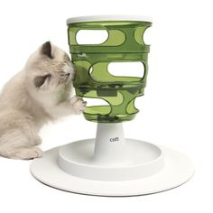 The Senses 2.0 Food Tree is the feeding solution for cats that tend to eat quickly. Cats are required to move the kibble or treats from the top to the bottom of the tree by pawing at it through the side openings.
