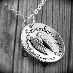 Sympathy Angel Wings Pendant / Sterling Silver Hand Stamped Necklace