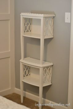 diy furniture // stacked end table shelf Brilliant idea for a mismatched or damaged end table.