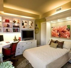 Room with Murphy bed love the lights...oo pretty picture