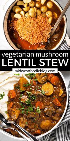 Veg Stew, Lentil Stew, Vegetable Stew, Veggie Dishes, Veggie Recipes, Soup Recipes, Cooking Recipes, Veggie Meals, Essen