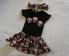Olivia Paige - Little sugar skull rockabilly punk rock outfit/ bodysuit - My Sugar Skulls