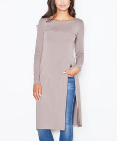 Another great find on #zulily! Brown Side-Slit Tunic #zulilyfinds