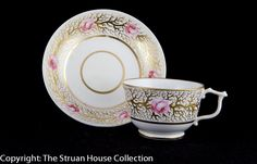 Really fine quality hand painted decoration on this Derby cup and deep dished saucer dating to around 1820