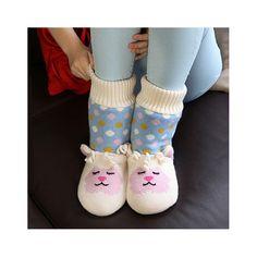 Knitted Lamb Slipper Socks