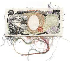 Lauren DiCioccio 1000 Yen 2010 Hand-embroidery on cotton Diy Embroidery, Embroidery Stitches, Creative Embroidery, Textile Design, Textile Art, Textiles, Soft Sculpture, String Art, Fabric Art
