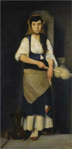 Girl With Distaff And Spindle Metal Print by Lembesis Polychronis. All metal prints are professionally printed, packaged, and shipped within 3 - 4 business days and delivered ready-to-hang on your wall. Choose from multiple sizes and mounting options. Classical Period, Classical Art, Hellenistic Period, European Paintings, Greek Art, Art Database, Conceptual Art, Art Auction, Ancient Art