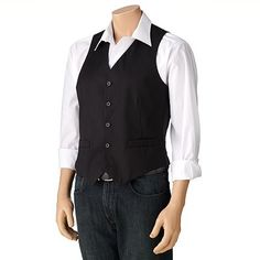 Dockers Herringbone Black Vest
