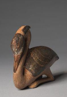 Heron Aryballos, c. 580 BC Greece, Milesian, Eastern province, 6th Century BC earthenware with slip decoration
