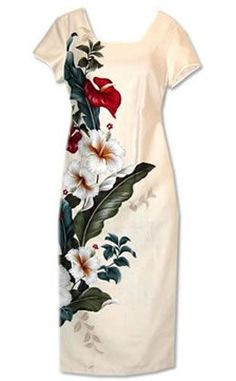 - Details - Size Chart - How to Measure - Statement-making Hawaiian dress with a bold floral print, featuring the beauty of the Hawaiian islands -- hibiscus flowers & tropical anthuriums. Island Wear, Hawaiian Designs, Short Sleeve Dresses, Dresses With Sleeves, Cap Sleeves, Tropical Dress, Asymmetrical Design, Glamour, Ao Dai