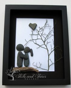 Pebble Art Couple's Gift - Unique Couple's Gift - Personalized Engagement Gift - Personalized COUPLE Gift - Wedding Gift by SticksnStone on Etsy