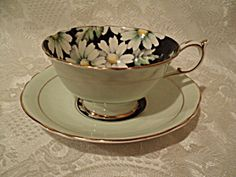 Paragon Green Teacup and Saucer Set Daisies. Click on the image for more information.